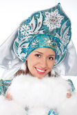 Smiling snow maiden isolated on a white — Стоковое фото