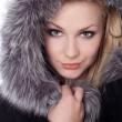 Young woman with a fur hood — Stock Photo