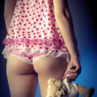 retro donna in lingerie tenendo un'illustrazione di teddy bear — Foto Stock #8724357