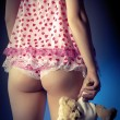 Wombackside in lingerie holding teddy bear illustration — Stock Photo #8724357