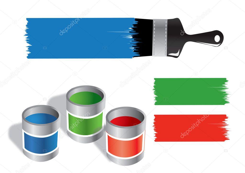 Paint Bucket Vector Paint Bucket And Brush Vector