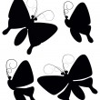 Four butterflies black silhouettes vector — Stock Vector