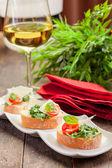 Bruschetta with Arugula and Tomatoes — Stock Photo