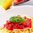 Spaghetti with Tomato Sauce on classical home table — Foto Stock