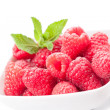 Stock Photo: Raspberries on white background