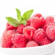 Raspberries on white background - Stock Photo