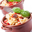 Pasta with cherry tomatoes and olives - isolated — Stock Photo