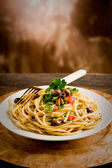 Pasta with Olives and Parsley — Stock Photo