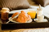 Breakfast in the bedroom — Stock Photo