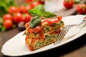 Homemade Lasegne with Ricotta Cheese and Spinach — Stock Photo
