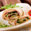 Tortillas with bacon and arugula salad - Foto de Stock