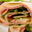 Tortillas with bacon and arugula salad - Stock Photo