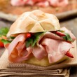 Sandwich with Mortadella and red peppers — Stock Photo #8611791