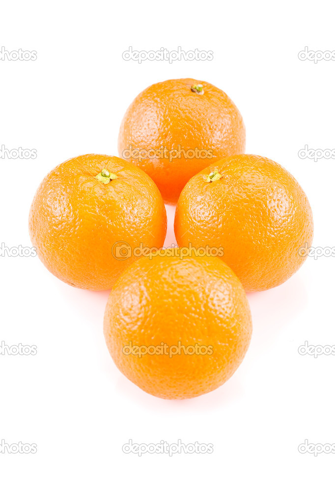 Closeup photo of delicious fresh oranges on white background  Stock Photo #8763180