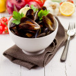 Mussels with white wine - Stockfoto