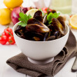 Mussels with white wine — Stock Photo