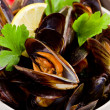 Mussels with white wine - Stok fotoraf