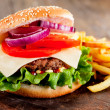 Hamburger with fries - Foto de Stock