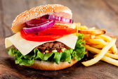 Hamburger with fries — Stock Photo