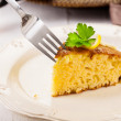 Lemon Sponge Cake on white wooden table — Stock Photo