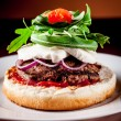Italian Burger with Arugula and Mozzarella - Stock Photo