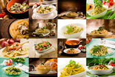 Italiensk pasta collage — Stockfoto