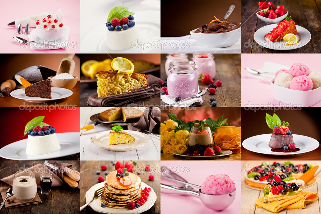 Collage of various photo of delicious desserts  Stock Photo #9919108