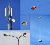 Collage of telecommunications electricity and building industrie — Stock Photo