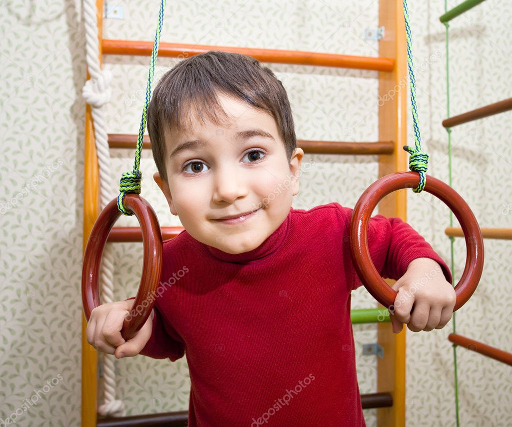 3 year old child at home sport gym  Stock Photo #10036775