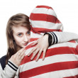 Foto Stock: Girl hugging young man