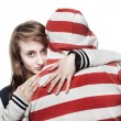 Stock Photo: Girl hugging young man