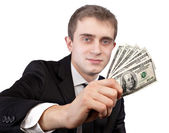 Человек, держащий банкноты — Стоковое фото