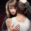 Foto de Stock  : Love - girl hugging a young man
