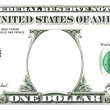 Royalty-Free Stock Photo: One dollar bill with a hole