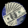 One hundred dollar bills on earth background — Foto de Stock