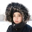 Wintery young boy portrait — Photo