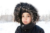 Wintery young boy portrait — Stock Photo