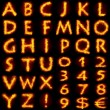 Fiery alphabet set - 图库照片