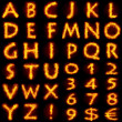 Fiery alphabet set — 图库照片