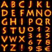 Ateşli alfabe seti — Stok fotoğraf