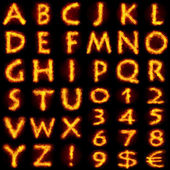 Fiery alphabet set — Stockfoto