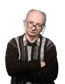 Elderly man in glasses and jacket — Stock Photo