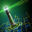 Lighthouse in cyberspace — 图库照片
