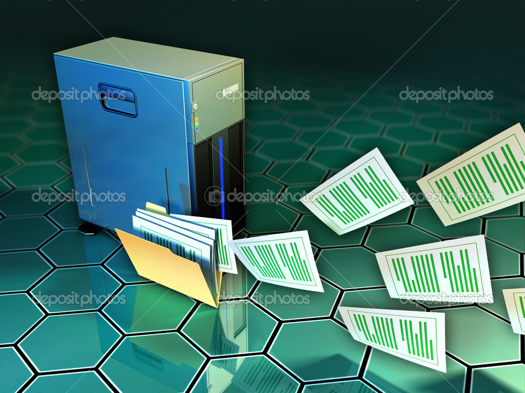 Some documents flying out of a file folder, next to a tower server. Digital illustration. — Stock Photo #10052324
