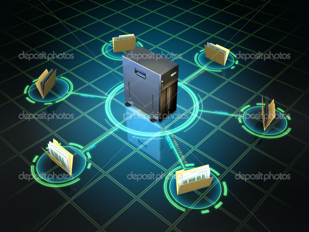 File folders connected to a desktop server. Digital illustration. — Stock Photo #10052333