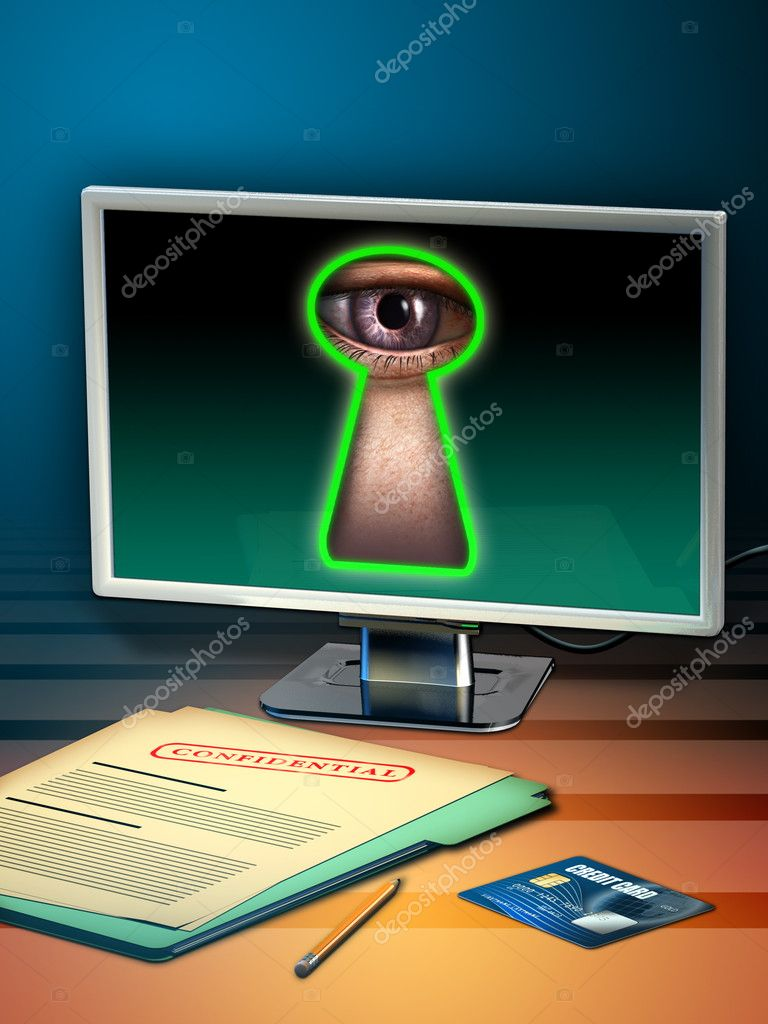 Using internet to steal personal data. Digital illustration.  Stock Photo #10052476