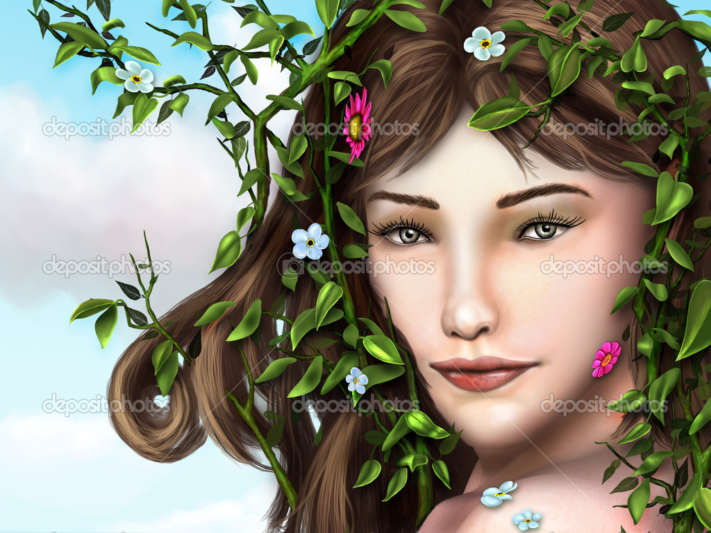 Beautiful young girl with vines, leaves and flowers decorating her hair and face. Digital illustration.  Stock Photo #10153601