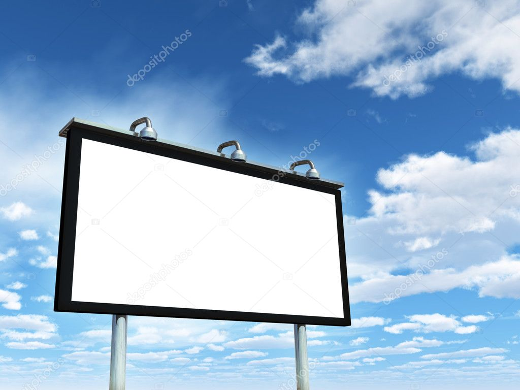 Large billboard on a beautiful sky background, copyspace available. Digital illustration.  Stock Photo #10170527