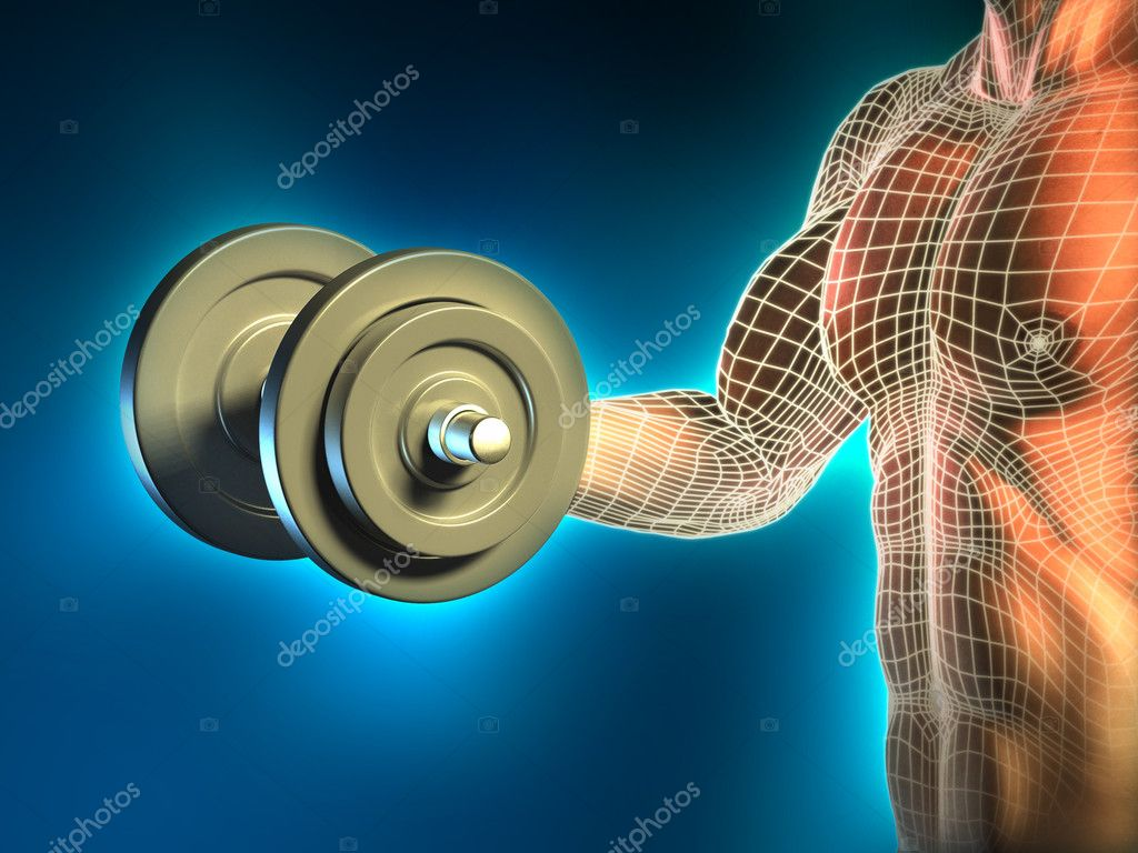 Conceptual image of a young man doing weight lifting excercises. Digital illustration. — Stock Photo #10170745