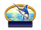 Fishing label — Stock fotografie